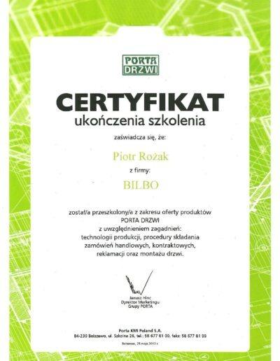 certyfikat_produktowy_drzwi_porta_piotr_rozak